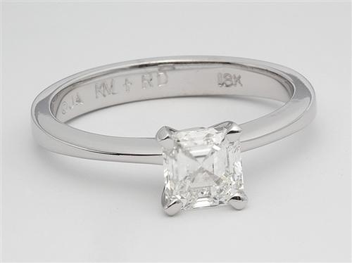 White Gold 1.00 Asscher cut Diamond Solitaire Ring Settings