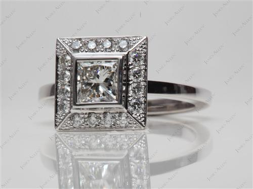 White Gold 0.77 Princess cut Diamond Tension Ring