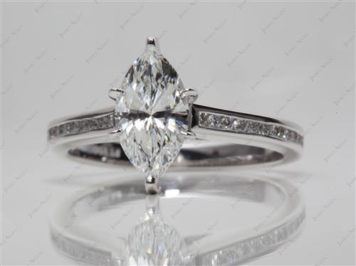 Platinum 1.50 Marquise cut Channel Set Engagement Ring
