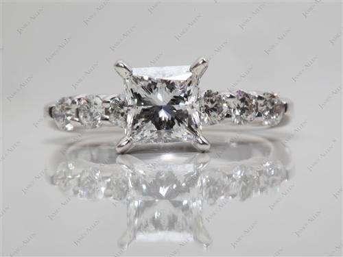 White Gold 1.03 Princess cut Engagement Rings
