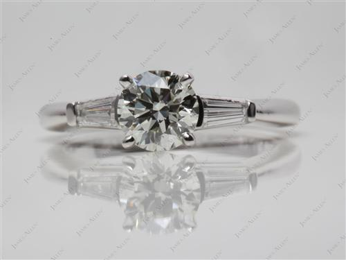 White Gold 0.90 Round cut Sidestone Engagement Ring
