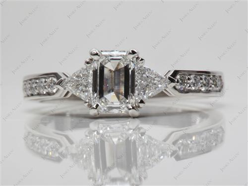 Platinum 0.75 Emerald cut Three Stones Rings