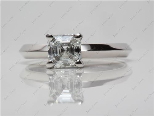 Platinum 1.02 Asscher cut Solitaire Diamond Ring
