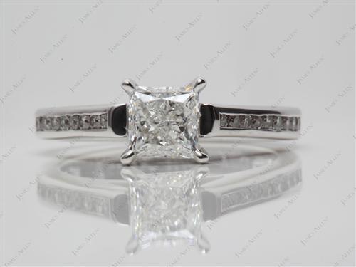 White Gold 0.90 Princess cut Channel Setting Engagement Rings