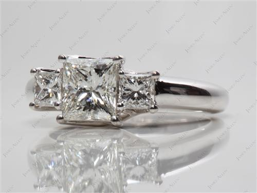 White Gold 1.30 Princess cut Three Stones Diamond Rings