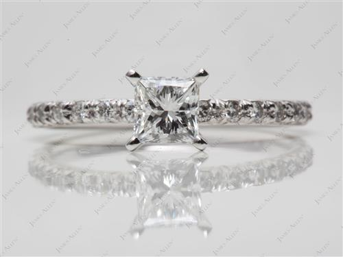 Platinum 0.73 Princess cut Pave Ring