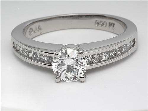 Platinum 0.77 Round cut Engagement Rings With Side Stones