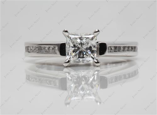 Platinum 0.75 Princess cut Channel Engagement Ring