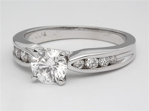 White Gold 0.93 Round cut Engagement Rings With Sidestones