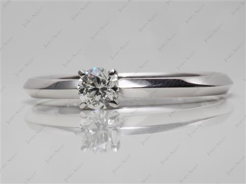 White Gold 0.30 Round cut Solitaire Ring Mountings
