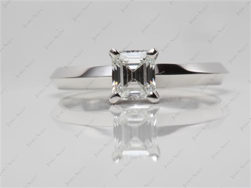 White Gold 0.70 Emerald cut Solitaire Diamond Rings