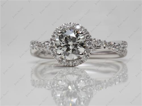 White Gold 0.70 Round cut Pave Ring Set