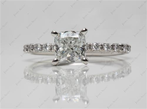 Platinum 1.32 Cushion cut Micro Pave Engagement Rings