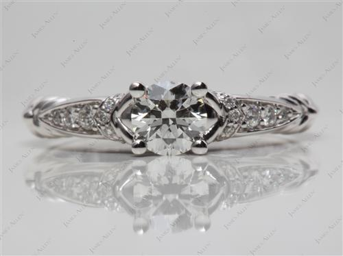 White Gold 0.61 Round cut Pave Diamond Engagement Rings
