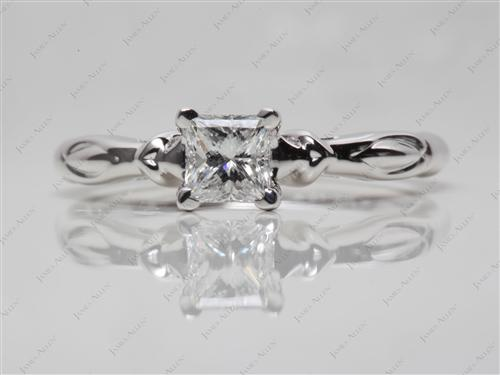 White Gold 0.56 Princess cut Engagement Rings