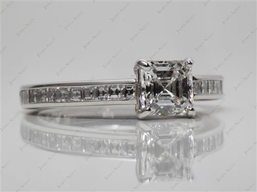Platinum 1.02 Asscher cut Channel Set Eternity Rings