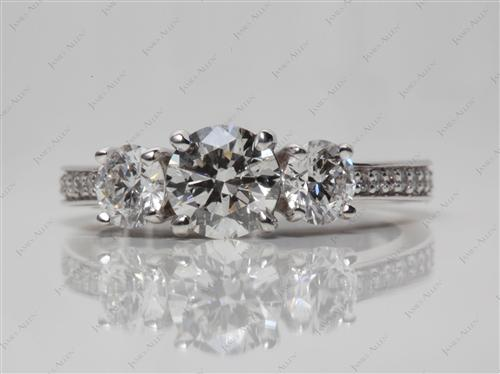 White Gold 0.80 Round cut Three Stones Diamonds Rings