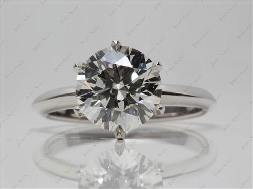 Platinum 2.52 Round cut Diamond Solitaire Ring Settings