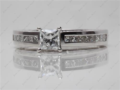 Platinum 0.50 Princess cut Channel Rings