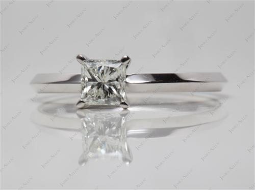 White Gold 0.66 Princess cut Diamond Ring