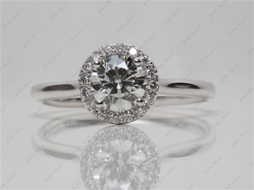 White Gold 0.72 Round cut Pave Setting Rings