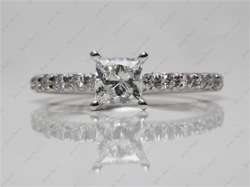 Platinum 0.75 Princess cut Micro Pave Ring