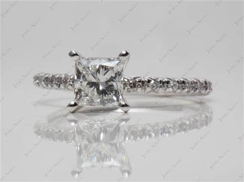 White Gold 0.75 Princess cut Pave Rings