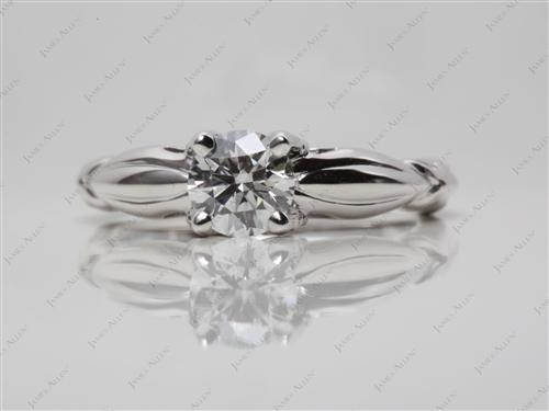White Gold 0.60 Round cut Engagement Ring