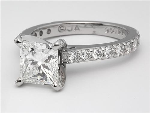 Platinum 1.51 Princess cut Engagement Rings With Sidestones