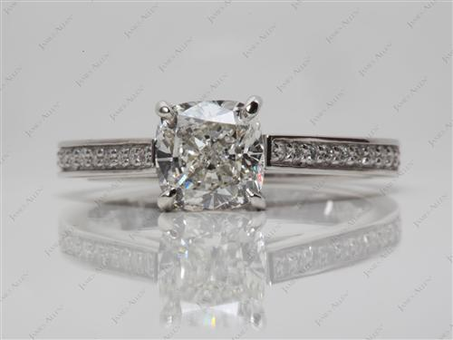 Platinum 1.81 Cushion cut Pave Diamond Engagement Ring