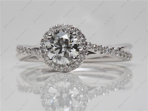 White Gold 0.74 Round cut Micro Pave Ring