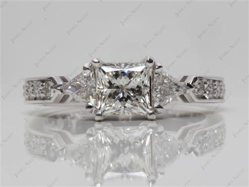 White Gold 0.72 Princess cut Three Stones Ring