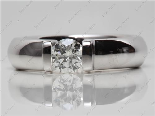 White Gold 0.54 Round cut Diamond Tension Rings