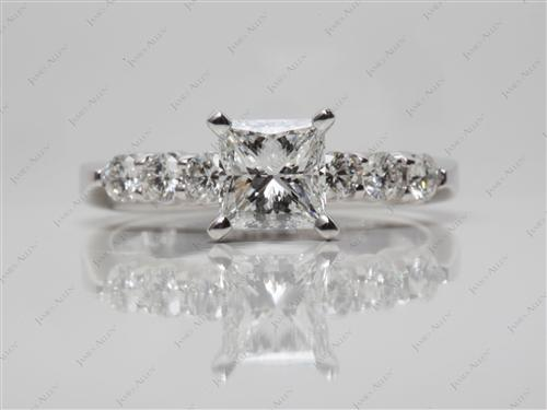White Gold 1.02 Princess cut Diamond Ring With Side Stones
