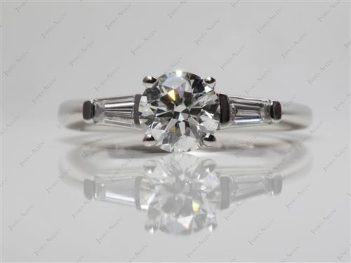 Platinum 0.93 Round cut Diamond Ring With Sidestones