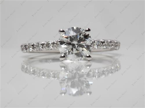 White Gold 1.00 Round cut Diamond Pave Rings