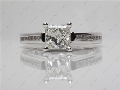 White Gold 1.01 Princess cut Channel Cut Ring