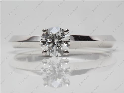 White Gold 0.73 Round cut Diamond Solitaire Ring Settings