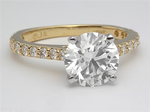 Gold 1.76 Round cut Diamond Ring With Side Stones