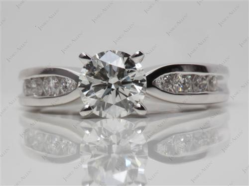 Platinum 1.00 Round cut Diamond Channel Rings
