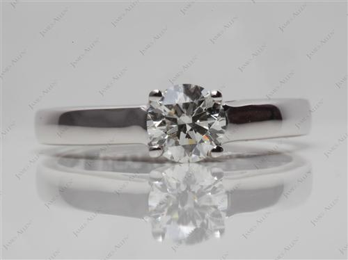 White Gold 0.61 Round cut Solitaire Engagement Ring
