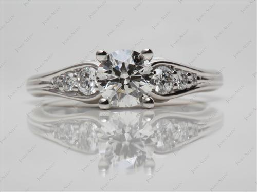 Platinum 0.90 Round cut Side Stone Engagement Ring