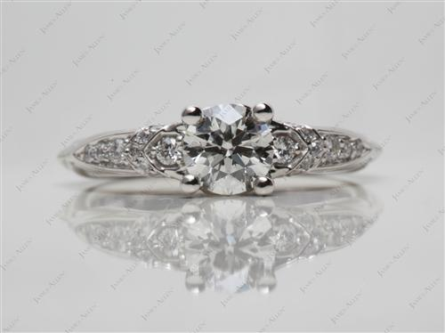 Platinum 0.66 Round cut Pave Ring Settings