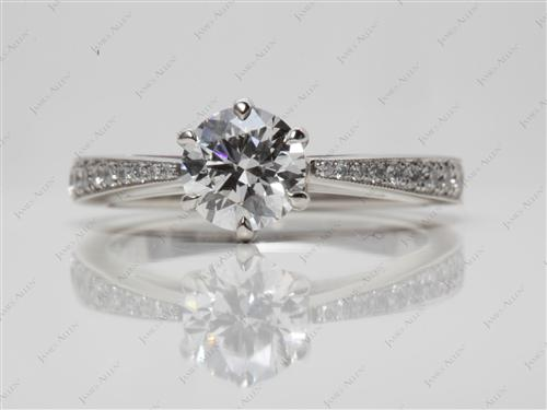 Platinum 0.76 Round cut Pave Engagement Ring