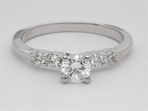 White Gold 0.42 Round cut Engagement Ring With Sidestones