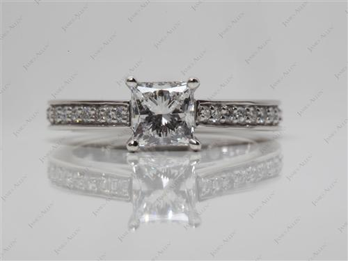 Platinum 0.72 Princess cut Diamond Rings