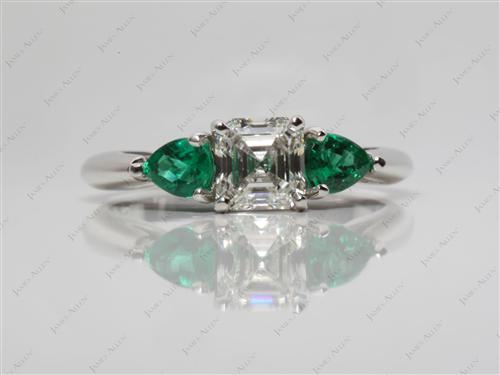 Platinum 1.02 Asscher cut Emerald Cut Diamond Engagement Rings