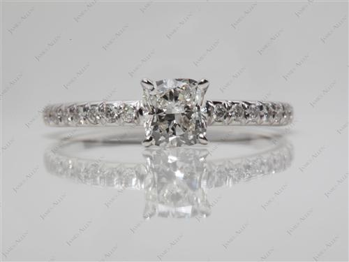 White Gold 0.60 Cushion cut Pave Ring Set