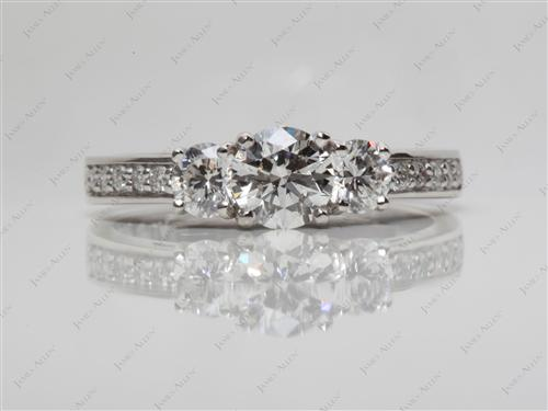 Platinum 0.71 Round cut Three Stones Ring
