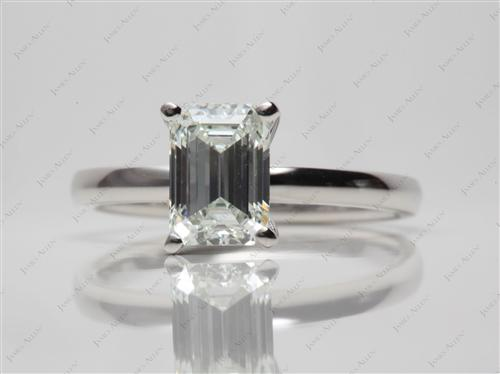 Platinum 1.50 Emerald cut Solitaire Ring Mountings